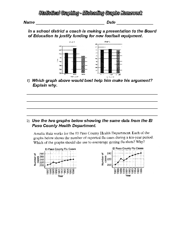 Worksheets Misleading Graphs Worksheet statistical graphing misleading graphs 9th 12th grade worksheet lesson planet