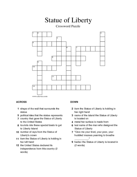 Statue of Liberty 5th - 6th Grade Worksheet | Lesson Planet