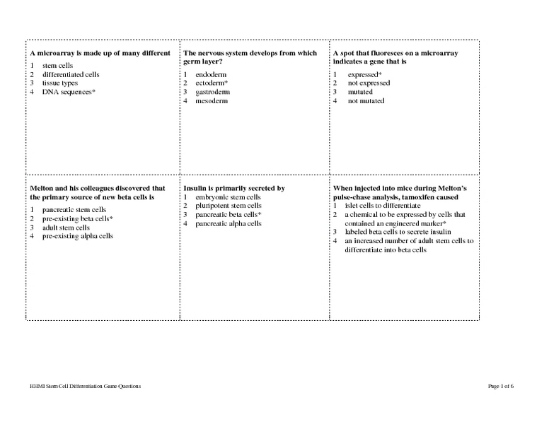 Cell Differentiation Worksheet - Synhoff