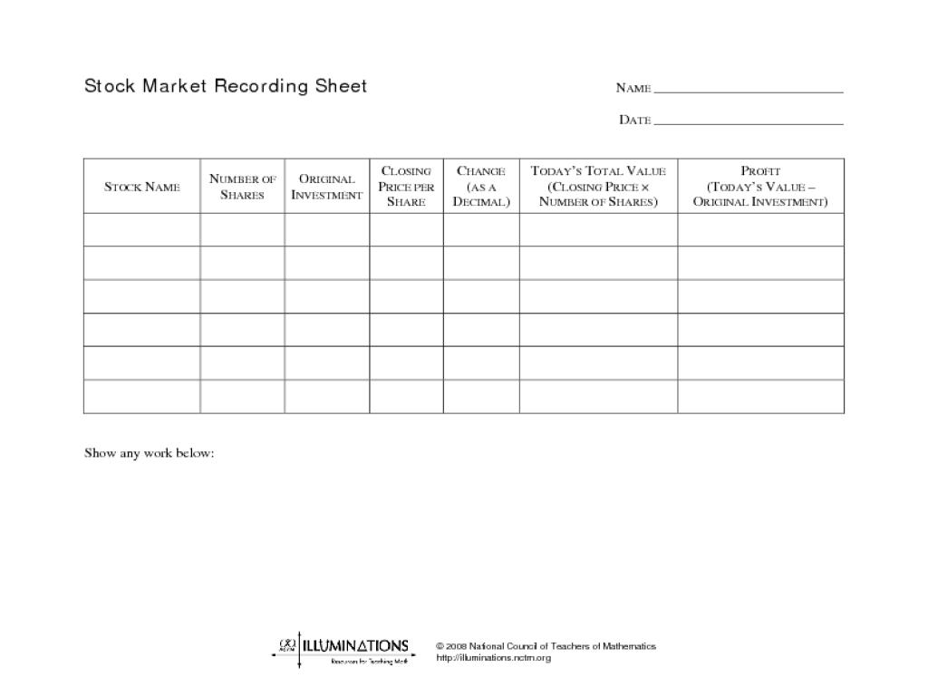 math worksheet : stock market recording sheet 9th  11th grade worksheet  lesson  : Market Math Worksheets