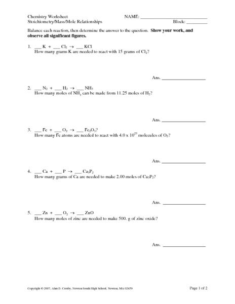 Mole 1 Worksheet