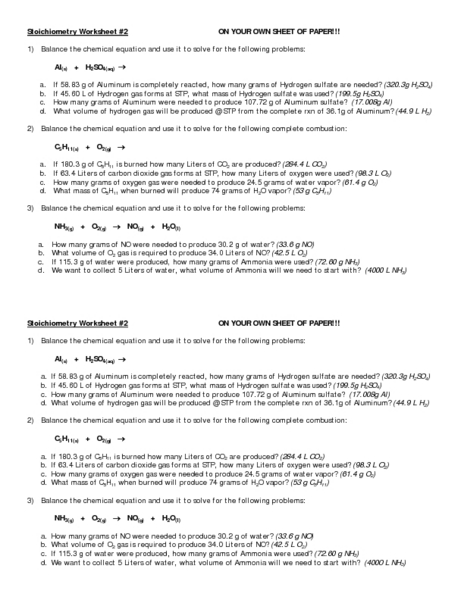Printables Stoichiometry Worksheet chemistry stoichiometry worksheet 2 intrepidpath 11th higher ed lesson pla