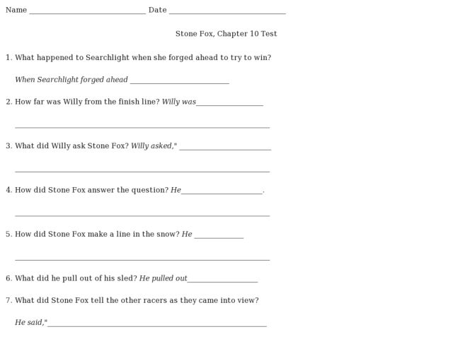 Printables Stone Fox Worksheets stone fox chapter 10 test 4th 7th grade worksheet lesson planet