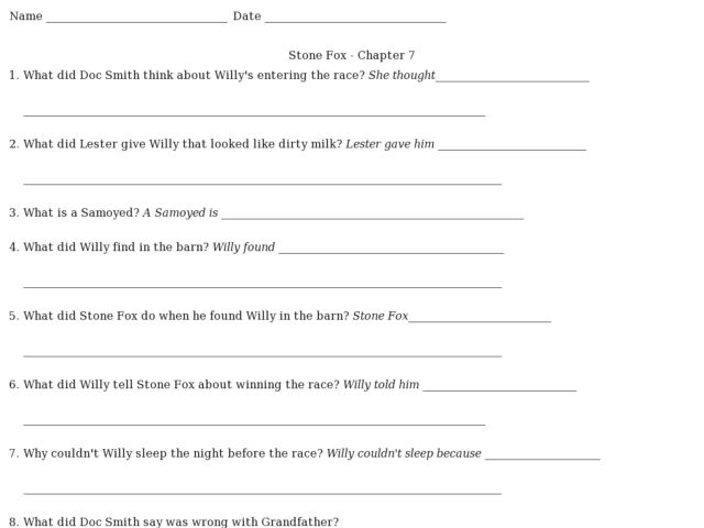 Stone Fox Worksheets Worksheets For School - Studioxcess