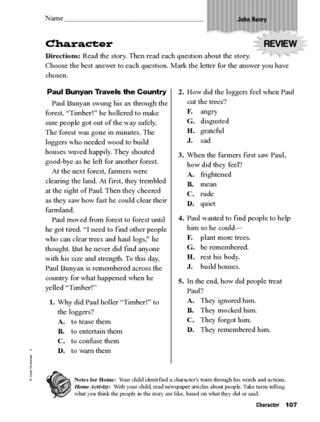 Printables Character And Setting Worksheets story element character 4th 5th grade worksheet lesson planet