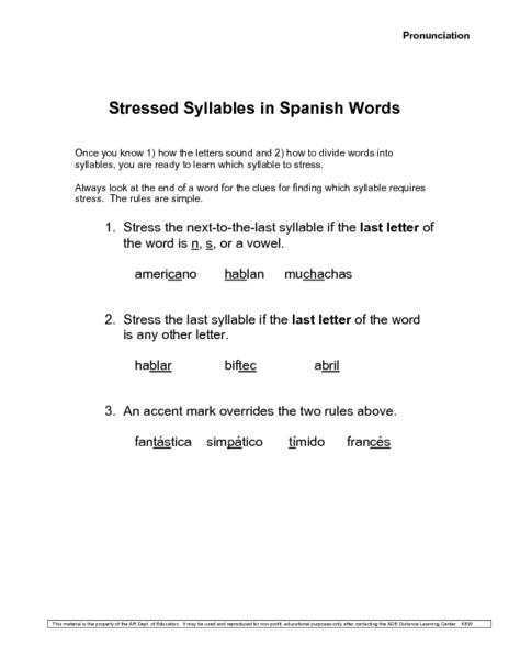 Similiar Spanish Syllables Worksheets Keywords
