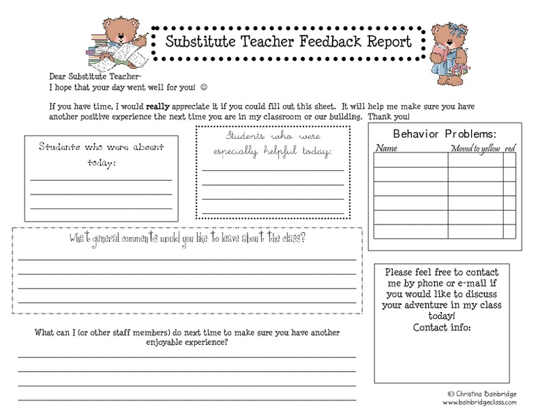 Printables Substitute Teacher Worksheets substitute teacher feedback report pre k 4th grade worksheet lesson planet