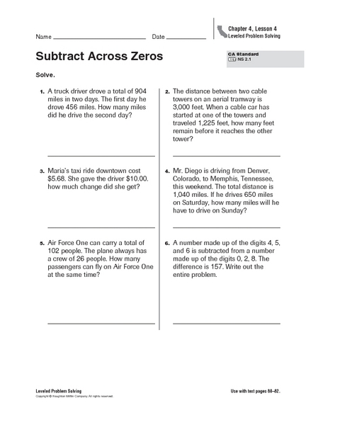 Subtraction Worksheets  Subtraction Worksheets Across Zeros  Free
