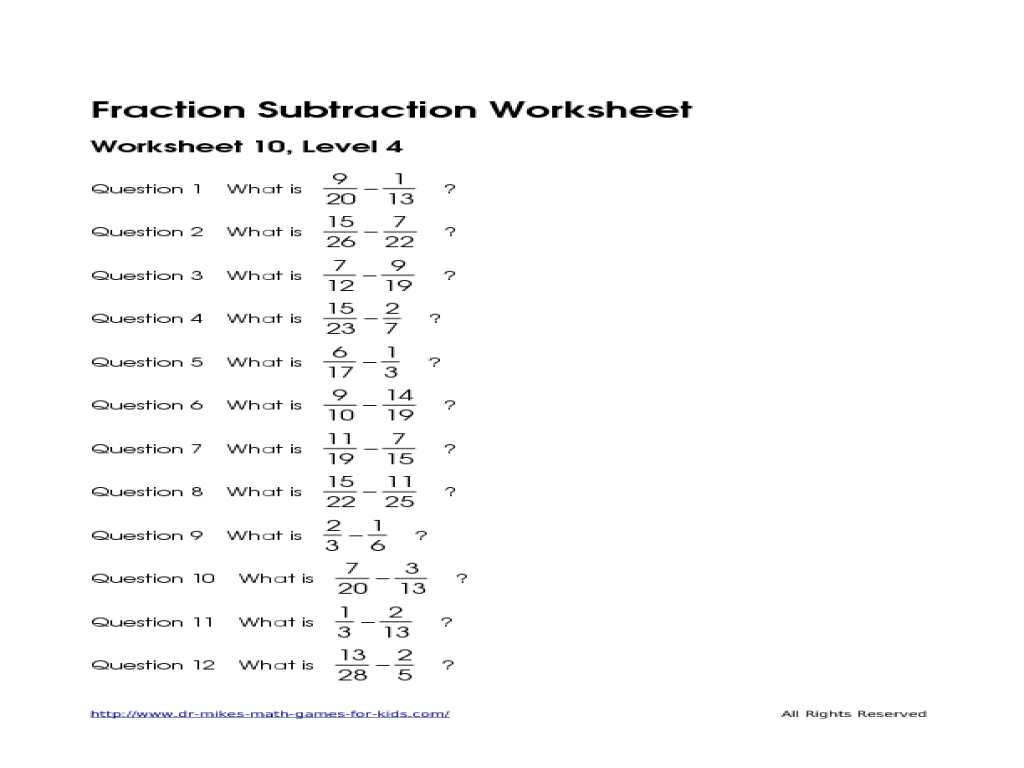 Subtract FractionsUnlike Denominators 4th 5th Grade Worksheet – Subtract Fractions with Unlike Denominators Worksheet
