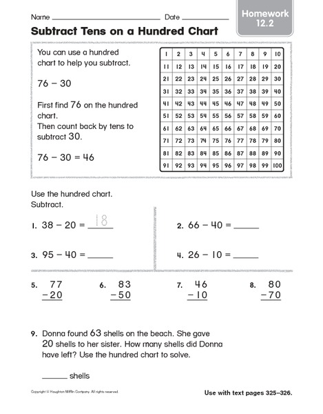 math worksheet : subtract tens on a hundred chart homework 2nd  3rd grade  : Subtracting Tens And Units Worksheets