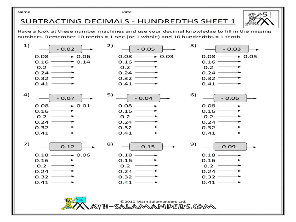... worksheet : Subtracting Decimals To The Hundredths Place Worksheets