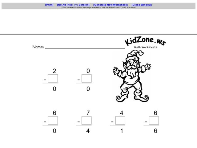 Subtracting with Zero 3rd 4th Grade Worksheet – Subtracting with Zeros Worksheet