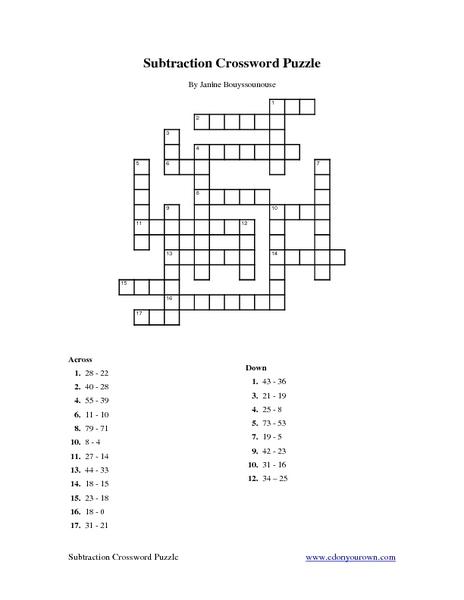 Subtraction Puzzle Worksheets Free Mattawa