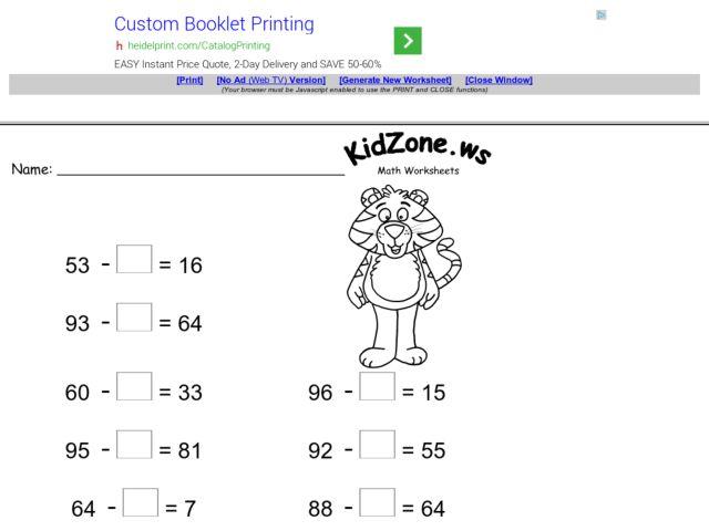 Subtraction Worksheet: Missing Subtrahends #2 2nd Grade Worksheet ...