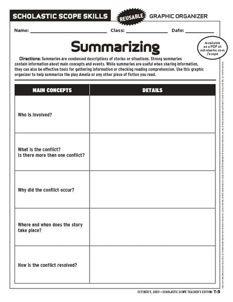 Paraphrasing graphic organizer worksheets