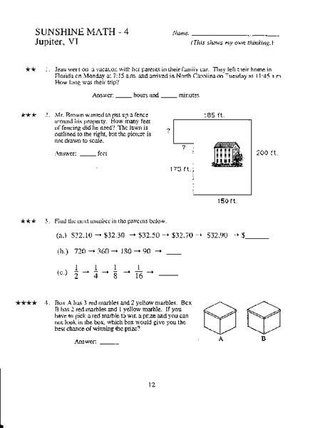 sunshine math 4th grade answers jupiter v secrets and lies secrets and lies. Black Bedroom Furniture Sets. Home Design Ideas