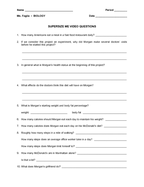 Printables Supersize Me Worksheet Answers super size me video questions 9th 12th grade worksheet lesson planet