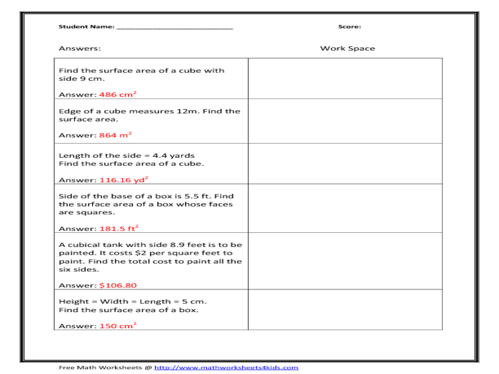 Worksheets Surface Area Of A Cube Worksheet surface area of a cube worksheet delibertad worksheet