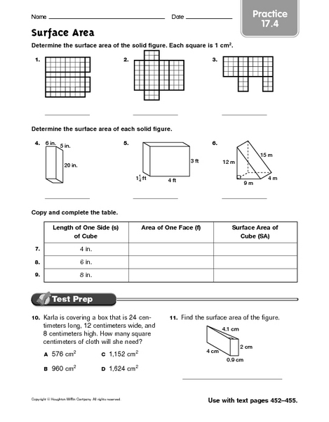 Worksheets Surface Area Of A Cube Worksheet surface area practice 17 4 4th 6th grade worksheet lesson planet