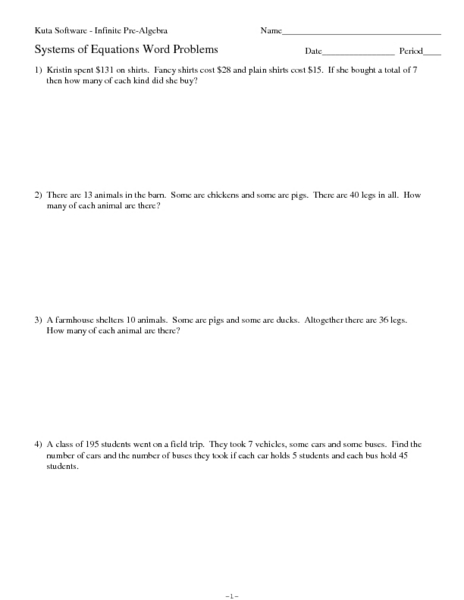 Systems Of Linear Equations Word Problems Worksheet - Davezan