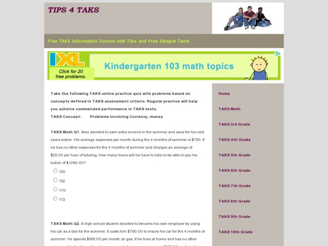 10th grade math taks practice worksheets