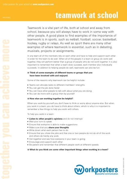 Teamwork at School 7th - 8th Grade Worksheet | Lesson Planet
