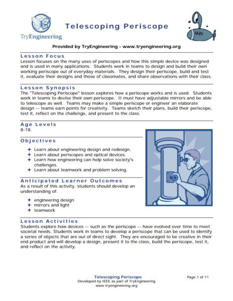 Telescoping Periscope 3rd - 12th Grade Lesson Plan | Lesson Planet