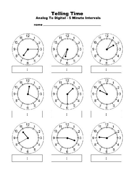 Time Worksheets : time worksheets 5 minute intervals Time ...