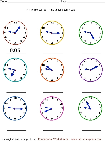 Telling Time - Five Minute Intervals Analog Clock Faces 2nd - 3rd ...