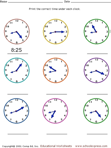 Time To The Minute Worksheets : Free worksheets telling time blank