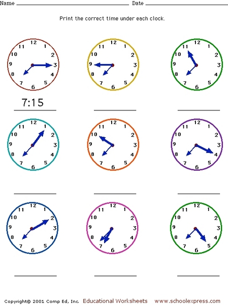 Telling Time to Five Minute Intervals 2nd - 3rd Grade Worksheet ...