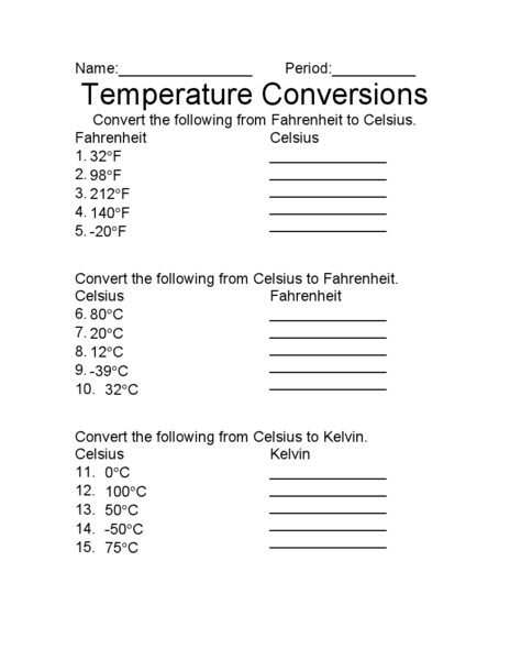 Worksheets Temperature Conversion Worksheet Answers temperature conversion worksheet convert the following to with answers kelvin worksheets