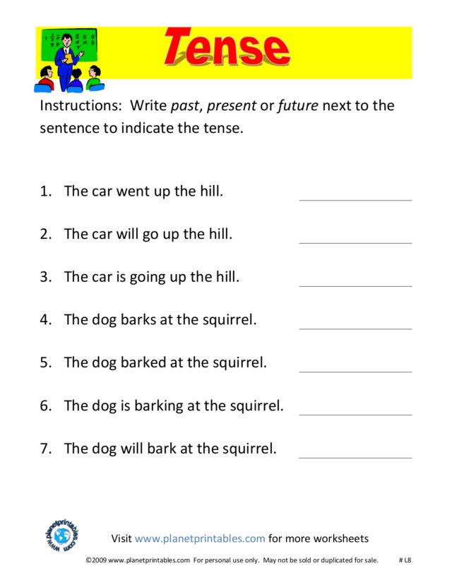 Tense: past, present, future 3rd - 4th Grade Worksheet | Lesson Planet