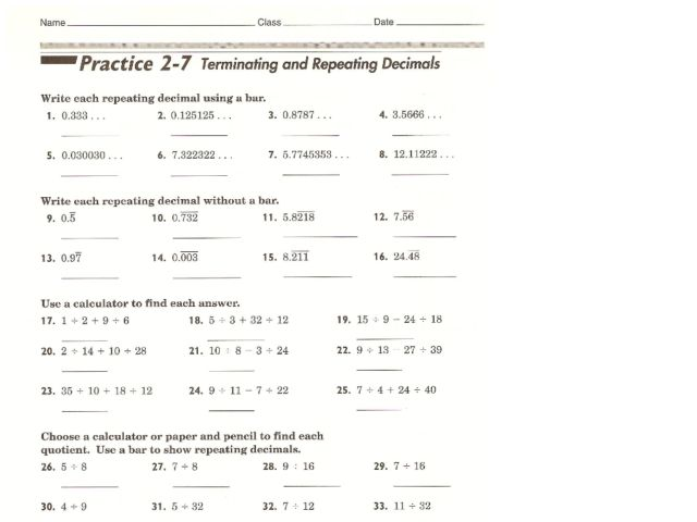 Worksheets Repeating Decimals To Fractions Worksheet terminating and repeating decimals 6th 7th grade worksheet lesson planet