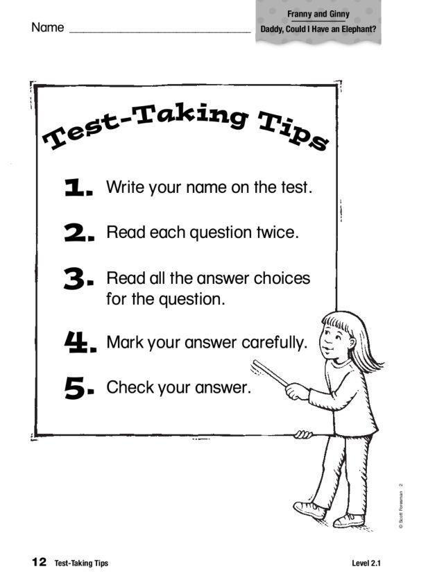 Test Taking Tips 1st - 2nd Grade Worksheet   Lesson Planet