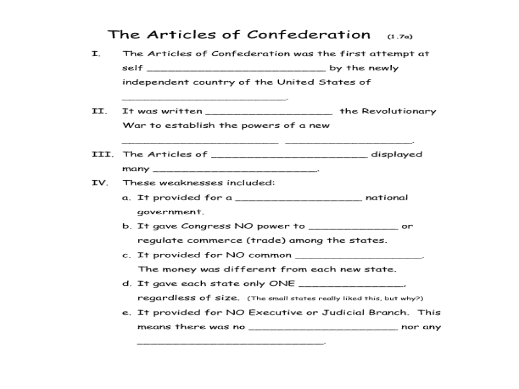 thesis for articles of confederation