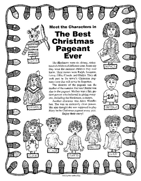 Free Printable Worksheets For The Best Christmas Pageant Ever - K5 ...