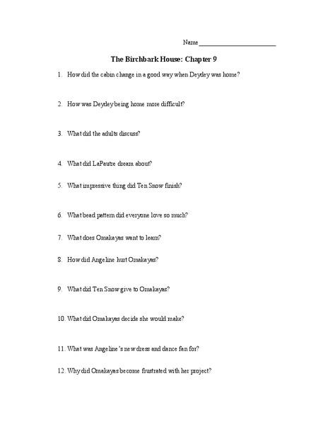 The Birchbark House  Chapter th Grade Worksheet   Lesson Planet