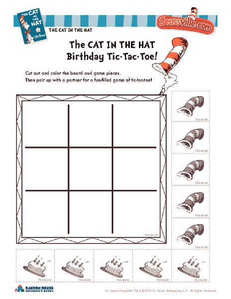 Worksheets Cat In The Hat Worksheets cat in the hat worksheets 2nd grade intrepidpath birthday tic tac toe kindergarten grade