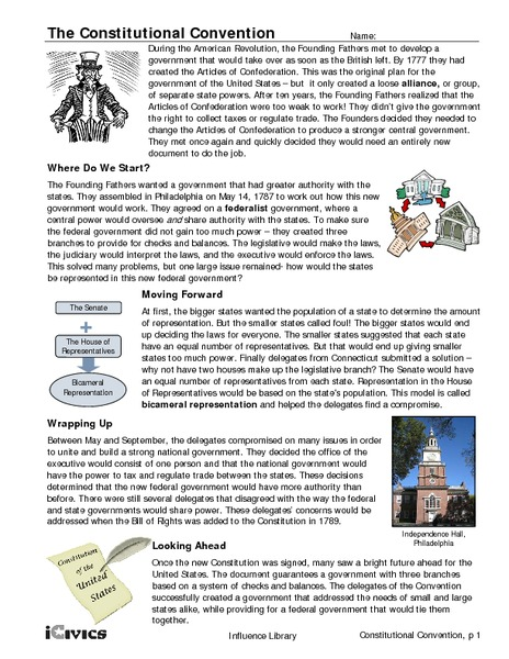 Printables Constitutional Convention Worksheet the constitutional convention 6th 12th grade worksheet lesson planet