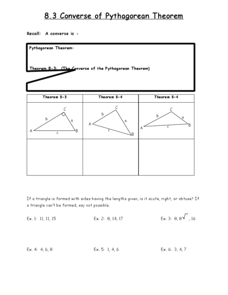 Worksheets Converse Of Pythagorean Theorem Worksheet the converse of pythagorean theorem 8th 9th grade worksheet lesson planet