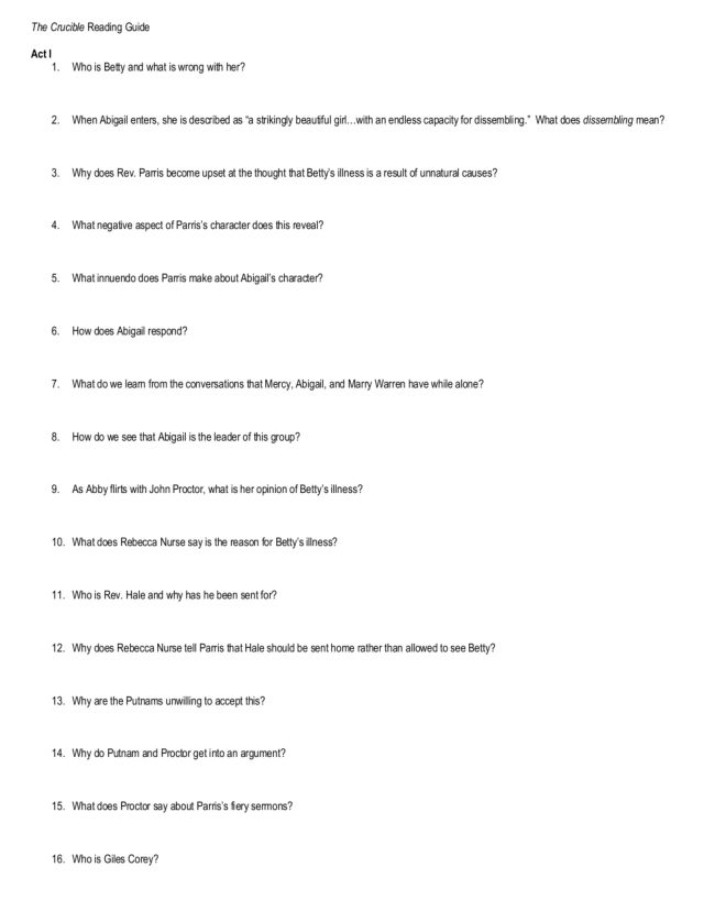 Pictures The Crucible Worksheets - Studioxcess