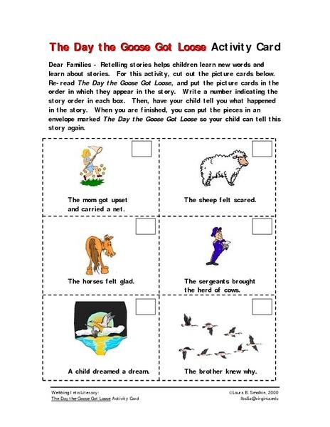 Printables School Home Connection Worksheets the day goose got loose activity card home school connection kindergarten 1st grade worksheet lesson pl
