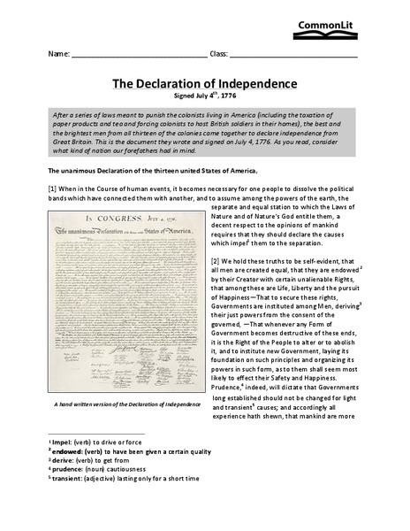 Worksheets Declaration Of Independence Worksheets the declaration of independence 7th 10th grade worksheet lesson planet