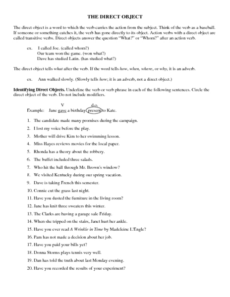 Printables Direct And Indirect Object Worksheets indirect object worksheets 5th grade intrepidpath direct and high school