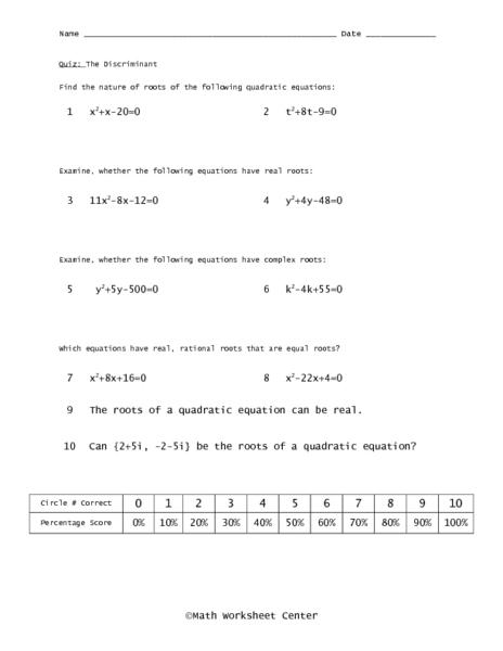 Using The Discriminant Worksheet - Secretlinkbuilding