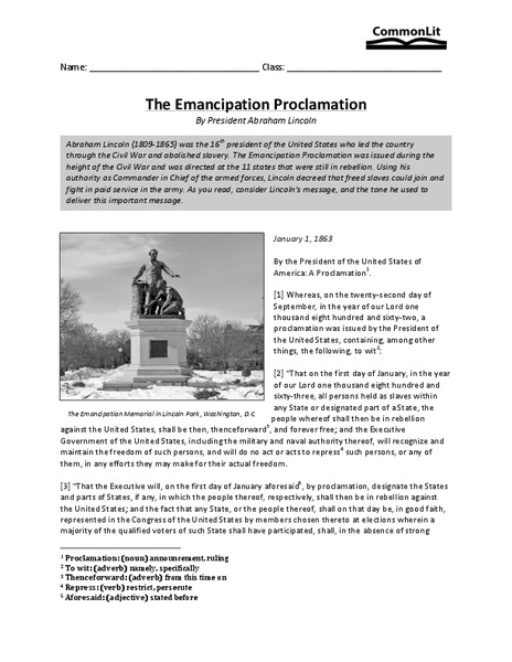 Worksheets Emancipation Proclamation Worksheet the emancipation proclamation 8th 11th grade worksheet lesson planet