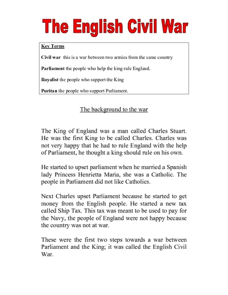 Worksheet Civil War Worksheets the english civil war 5th 7th grade worksheet lesson planet