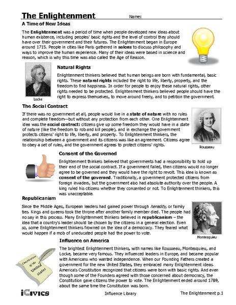 Worksheets Enlightenment Worksheet the enlightenment 6th 12th grade worksheet lesson planet