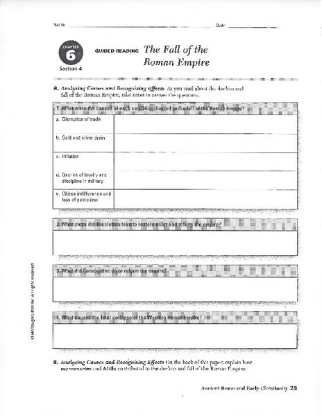 The Fall of the Roman Empire 6th - 8th Grade Worksheet | Lesson Planet